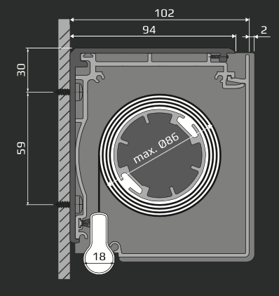 RL - Veggmontering